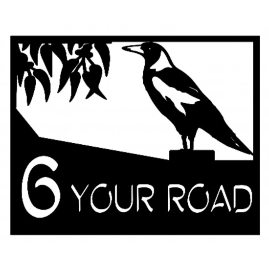 Custom Magpie Street Number Personalised Address House Plaque