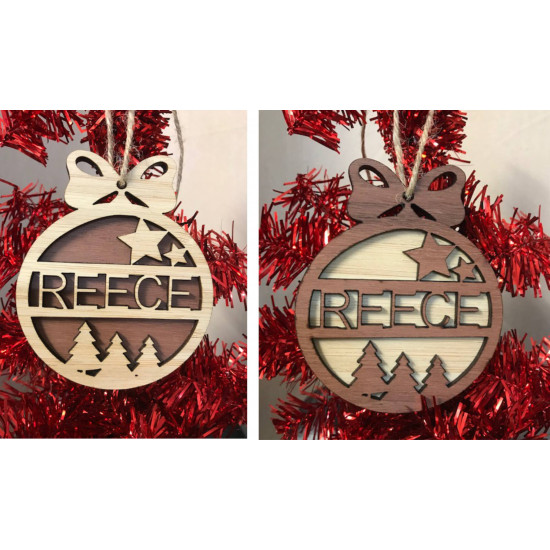 Personalised Bamboo and Jarrah Wood Christmas Decoration Ornament