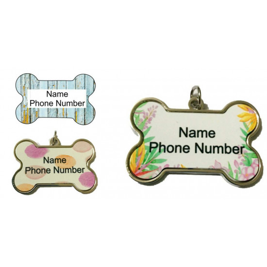 Personalised Deluxe Pet Tag Dog Single sided Bone ID Tag
