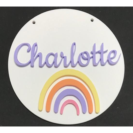 Personalised Pastel Rainbow on White Acrylic Kids Bedroom Sign Birth Plaque