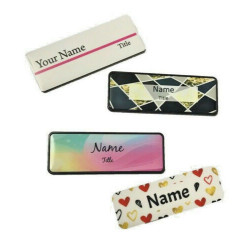 Personalised Pattern Name badge Pin or magnet back custom print Staff ID tag