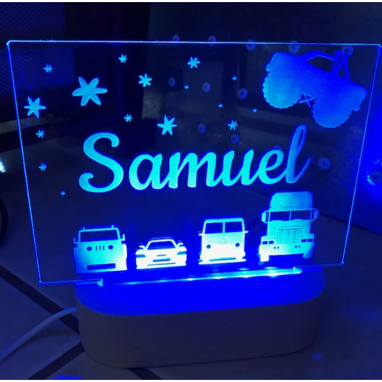 Personalised Night Light Cars Monster Truck Name LED USB Decor Light