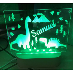 Personalised Night Light Dinosaur Name LED USB Decor Light