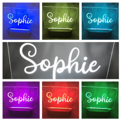 Personalised Name Night Light Battery LED Round Wood Base USB Decor Light
