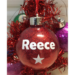 Personalised GLITTER Christmas Bauble Ornament - 9 Colours