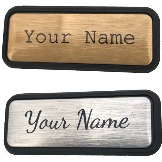 Personalised 47mmx16mm small BADGES Pin or Magnet Back