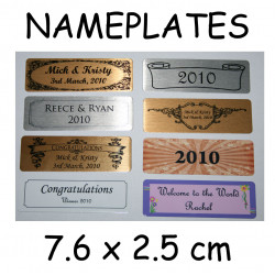 Self Adhesive NAME PLATE nameplate PRINTED 7.6 x 2.5cm trophy plaque