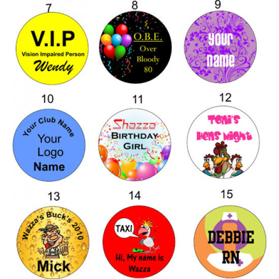 Personalised ROUND Name BADGE PIN BACK 50mm