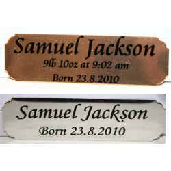 Scallop Corners 6.4cm x 1.9cm Printed NAME PLATE Trophy Award nameplate