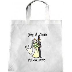 Personalised Wedding Enviro Tote Bag - Bridal Couple Design L