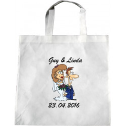Personalised Wedding Enviro Tote Bag - Happy Groom Couple Design M