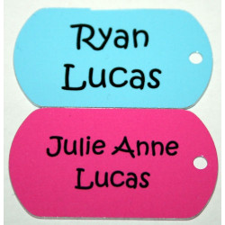 PLAIN COLOUR Metal BAG TAG Luggage School PERSONALISED