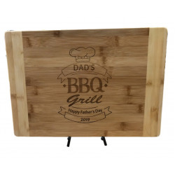 Personalised bamboo chopping board - CB-001 fathers day Laser Engraved BBQ design and TEXT