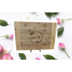 Personalised bamboo chopping board - CB-W001 Wedding engagement Laser Engraved design and TEXT