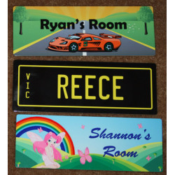 PERSONALISED Kids NAME Number DOOR Plate Sign 20x7.3cm
