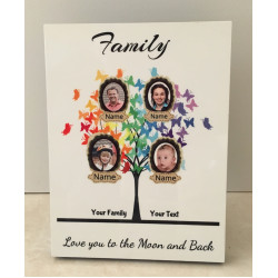 Personalised Butterfly Family Tree Hardboard Photo Block FT10