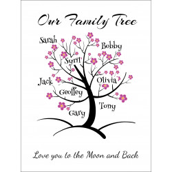 Personalised Blossom Name Tree Hardboard Photo Block FT12
