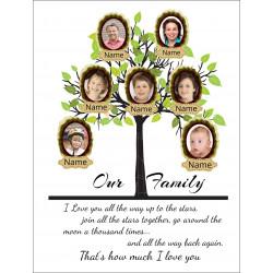 Personalised Green Family Tree Hardboard Photo Block FT3