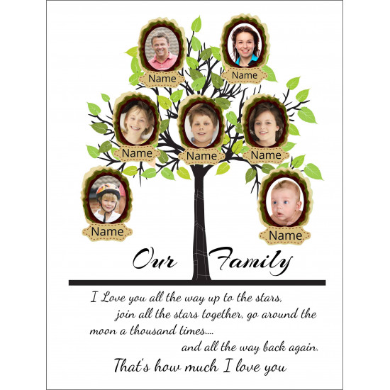 Personalised Green Family Tree Hardboard Photo Block FT3