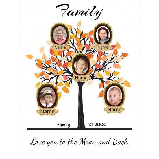 Personalised Orange Family Tree Hardboard Photo Block FT4