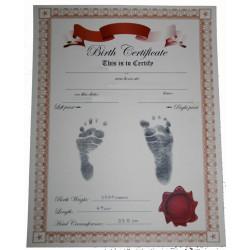 BIRTH CERTIFICATE - Manila & Red - Inkless Baby Footprint KIT