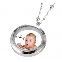 Stainless Steel Necklace Round Glass Frame Locket - Custom photo print