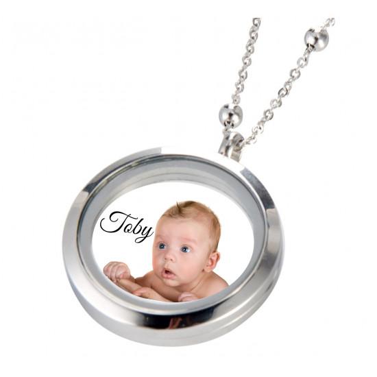 Stainless Steel Necklace Round Glass Frame Locket - Custom photo print
