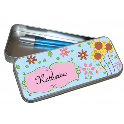 Personalised Pencil Case Tin - Flowers PT20