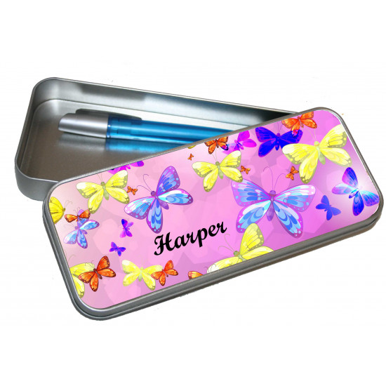Personalised Pencil Case Tin - Butterfly PT3