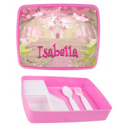 Personalised Plastic Lunch Box PLB18 Fairy Castle