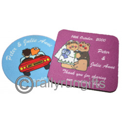 Personalised photo RUBBER Coasters SET OF 4