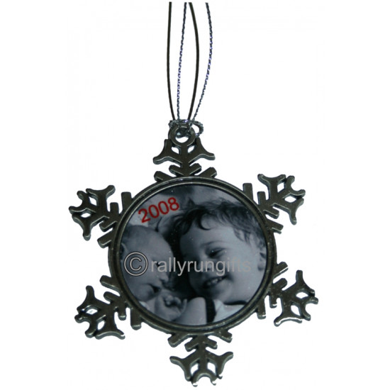 PERSONALISED Pewter snowflake ornament Christmas PHOTO
