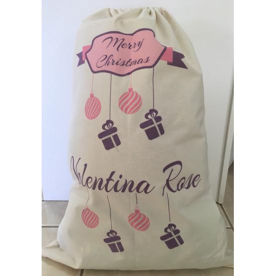 Personalised Santa Sack - Pink Baubles