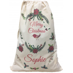 Personalised Santa Sack - Floral Bird