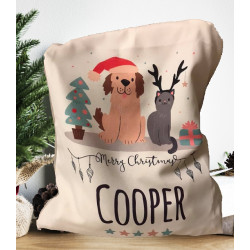 Personalised Santa Sack - Cat Dog Santa 26