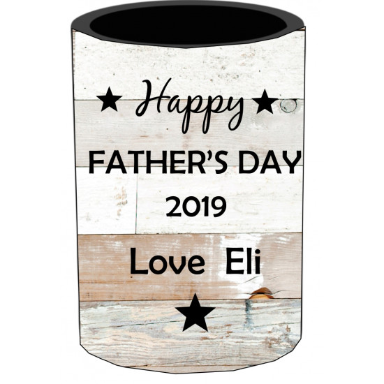 Personalised stubby holder coolers Photo Fathers day Wood background STUB127