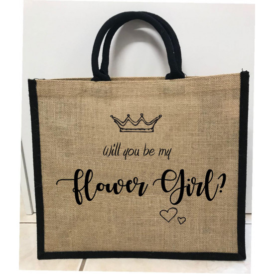 Hessain Jute Tote Bag - HJTB10 Will you be my Flower Girl