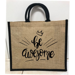 Hessain Jute Tote Bag - HJTB06 Be Awesome