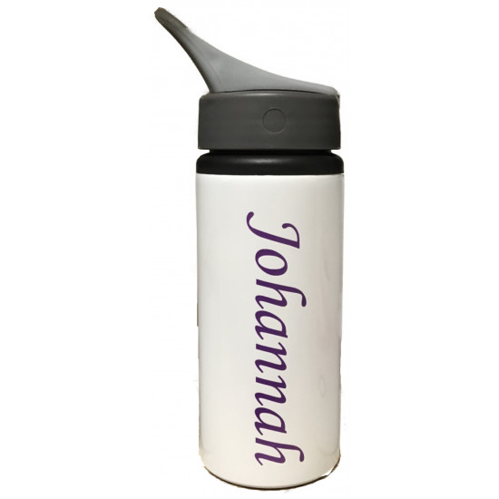 Personalised NAME Aluminum Water Bottle W/ Handle (White) 22oz/650ml