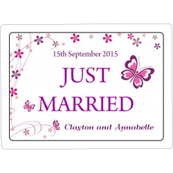 Personalised Wedding Car Decoration Door Sign Butterfly WP12