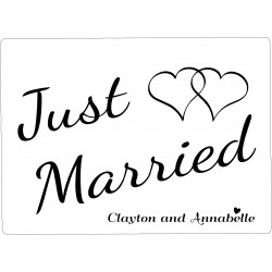 Personalised Wedding Car Decoration Door Sign Hearts WP4