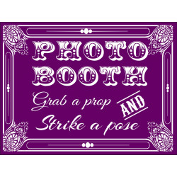 Personalised Metal Wedding Plum Photo Booth Sign WMS10