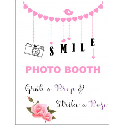 Personalised Metal Wedding Smile Photo Booth Sign WMS12