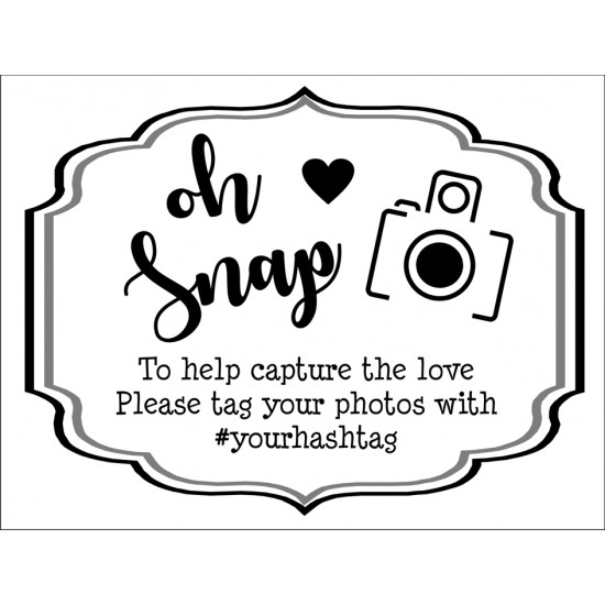 Personalised Metal Wedding Oh Snap photo booth Sign WMS4